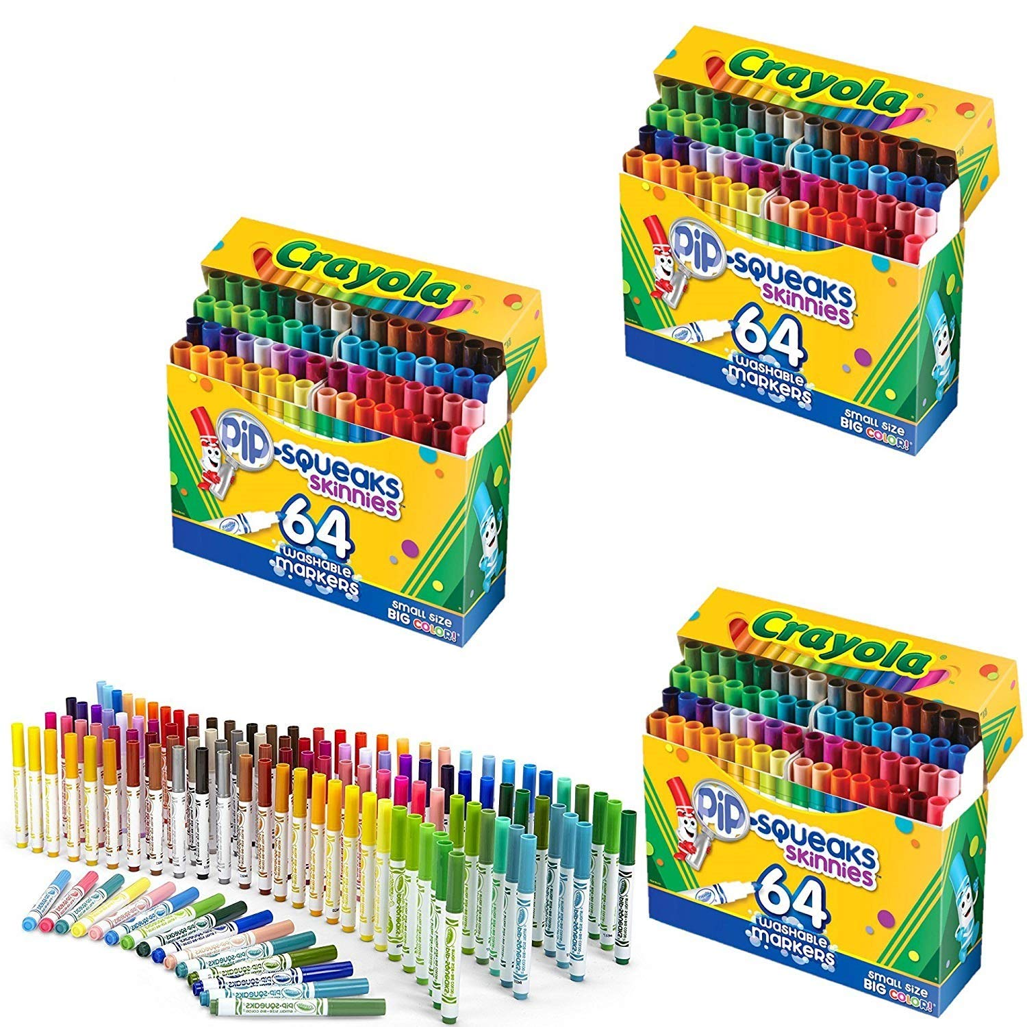 Crayola 58-8764 Washable Marker, Assorted, 64 Count (Pack of 3)