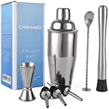 Cresimo 24 Ounce Cocktail Shaker Bar Set with Accessories, Martini Kit with Measuring Jigger, Mixing Spoon, Muddler…