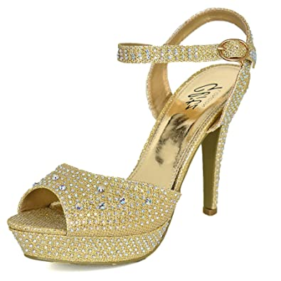 a84d44db1870 Glitz LONDON Ladies Diamante High Heel Sandals Shoes Ankle Strap Evening  Party Wedding Size UK