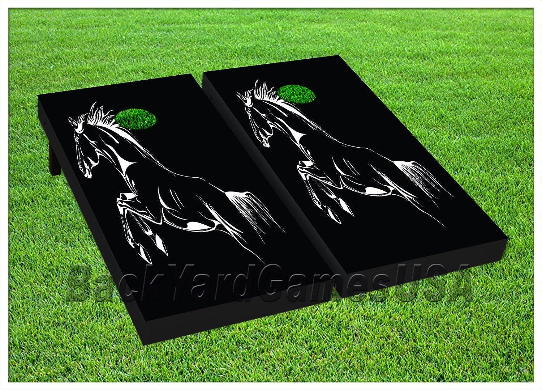 backyardgamesビニールラップCornholeボードデカール馬図面バッグToss Gameステッカー458 B07FMFQ53W