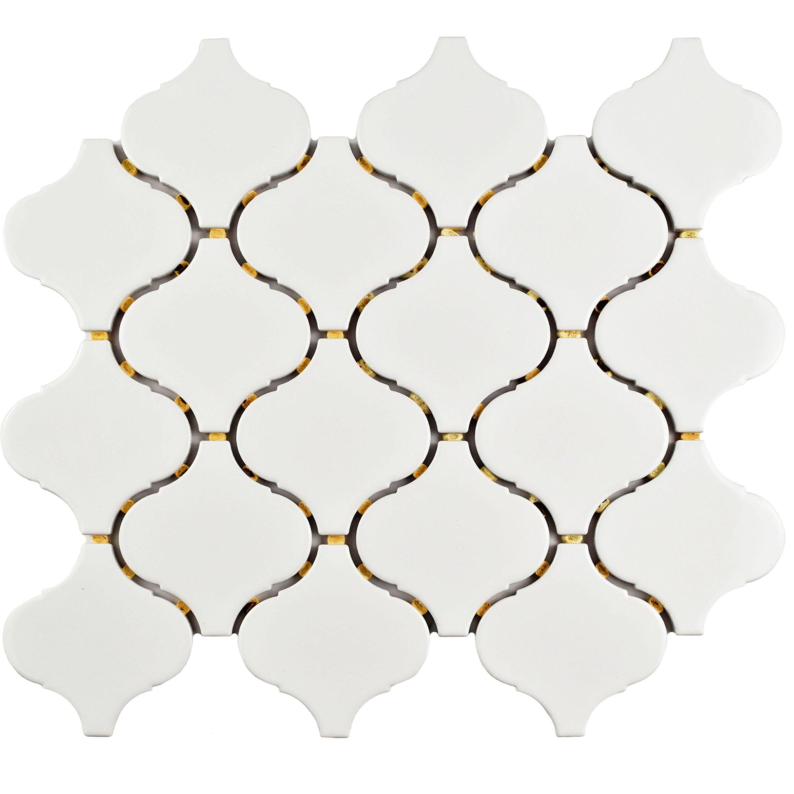 SomerTile FMALTGW Deriba Lantern Porcelain Mosaic Floor and Wall Tile, 9.5'' x 10.75'', Glossy White