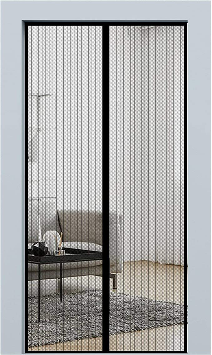 Rhodesy Cortina Mosquitera Para Puertas de 90x210cm, Magnético Mantener a los insectos fuera Deja entrar aire fresco, con la cortina de malla resistente imanes potentes (Negro): Amazon.es: Bricolaje y herramientas