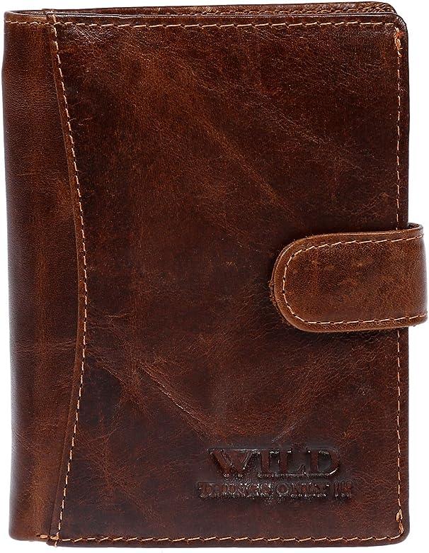 Cartera de piel para hombre, color marrón: Amazon.es: Zapatos y complementos