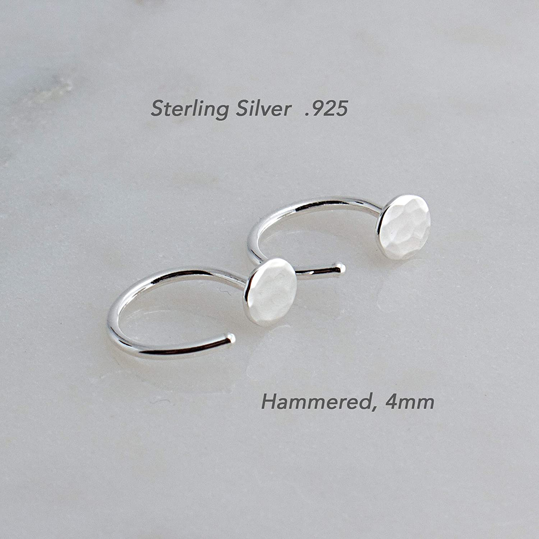 Sterling Silver Hammered 4mm Disc Hoop Hugger Earrings