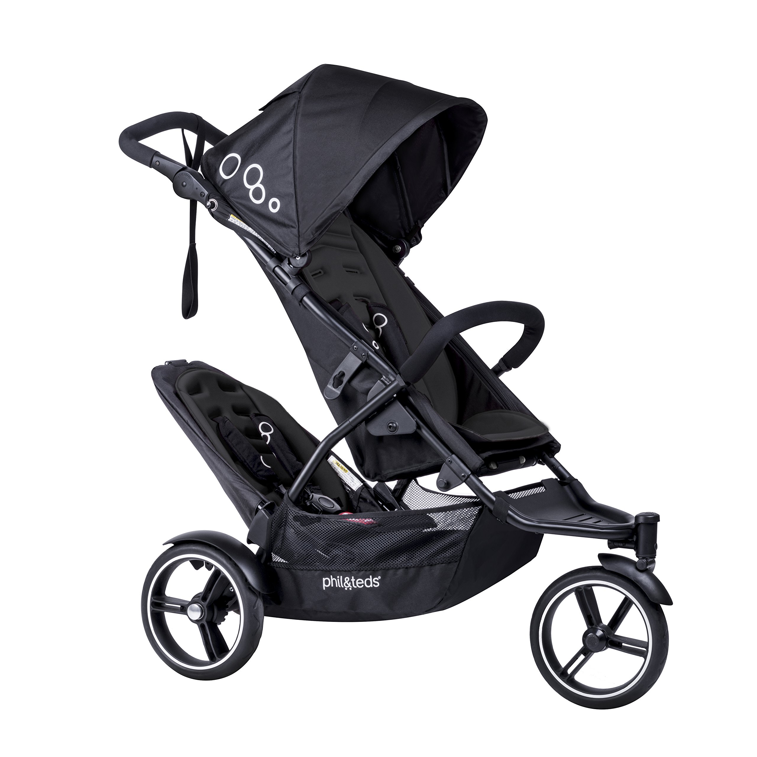 phil&teds Dot Compact Inline City Stroller with Double Kit, Black - Compact Frame with Full Size Seat - Newborn Ready - Parent Facing Seat Included - Compact, One Hand Fold - Puncture Proof Tires by phil&teds