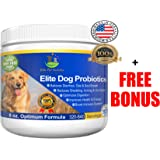 Advanced Probiotic for Dogs Elite Dog Probiotics Powder by Elite Pet Nutrition - Veterinarian Recommended - Eliminates Diarrhea, Gas, All Natural Non-GMO & Gluten Free - FREE BONUS - Made in the USA