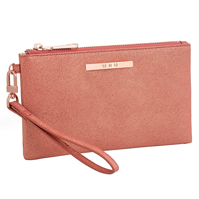 Women's Wristlet with Removable Strap, PU Leather, Orange