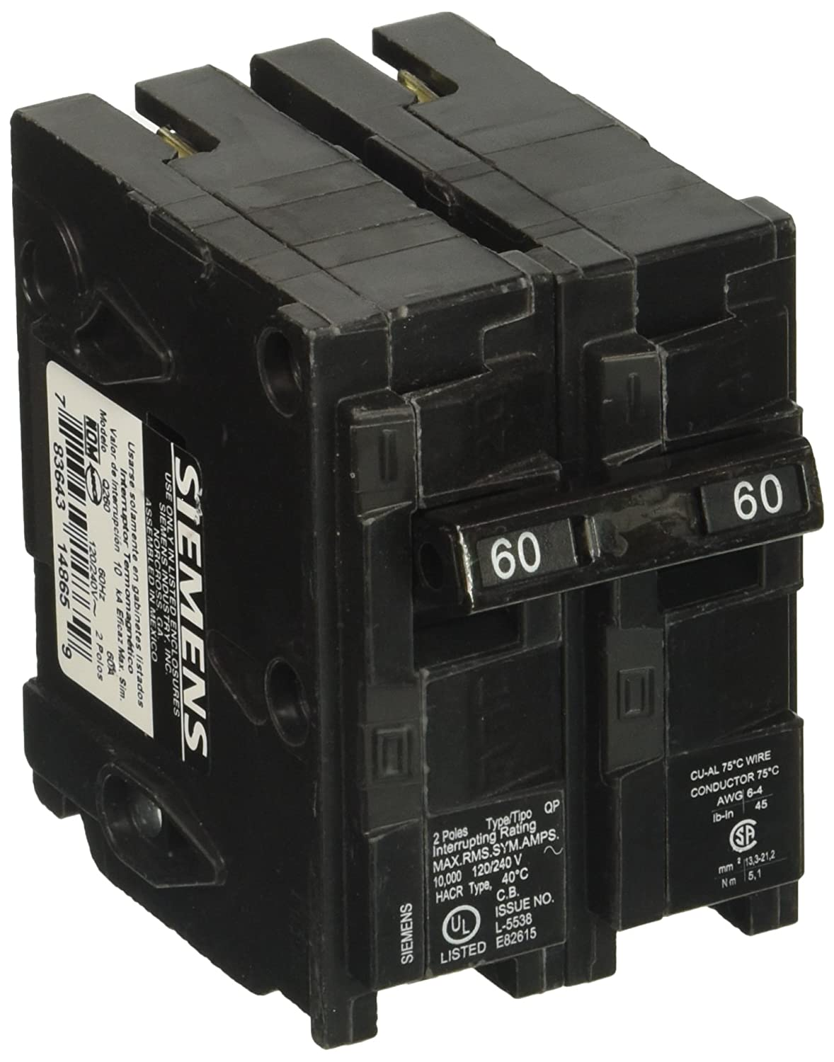Q260 60-Amp Double Pole Type QP Circuit Breaker - - Amazon.com