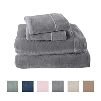 Extra Soft Cozy Velvet Plush Sheet Set. Deluxe Bed Sheets with Deep Pockets. Velvet Luxe Collection (Twin, Grey) best twin-size fleece sheet sets