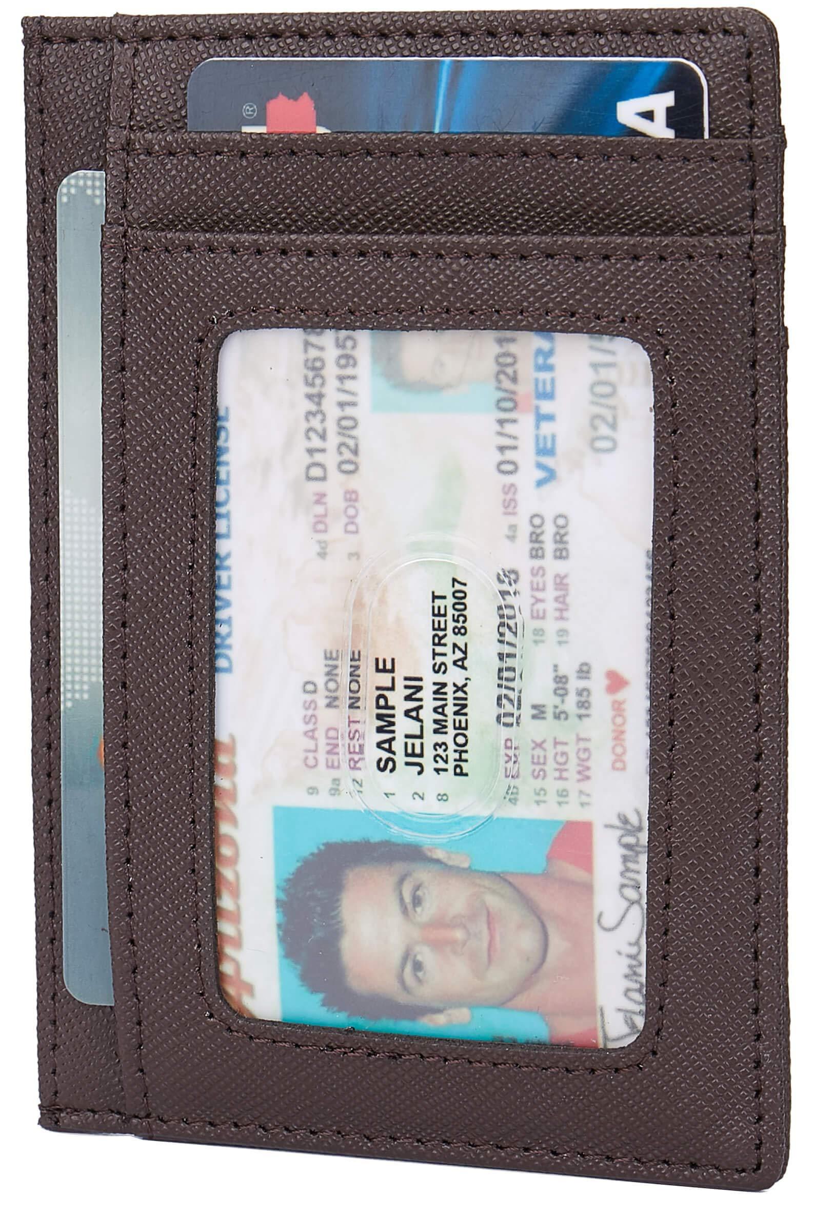 Linscra Small RFID Blocking Minimalist Credit Card Holder Pocket Wallets for Men & Women, Crosshatch Leather Coffee by Linscra
