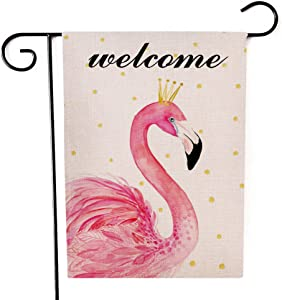 Ogiselestyle Welcome Flamingo Garden Flag Double Sided Decorative House Small Autumn Fall Yard Decor Flags 12 X 18 Inch