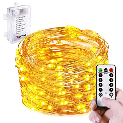 wertioo battery operated string lights fairy lighting remote control33ft 100leds8 modes