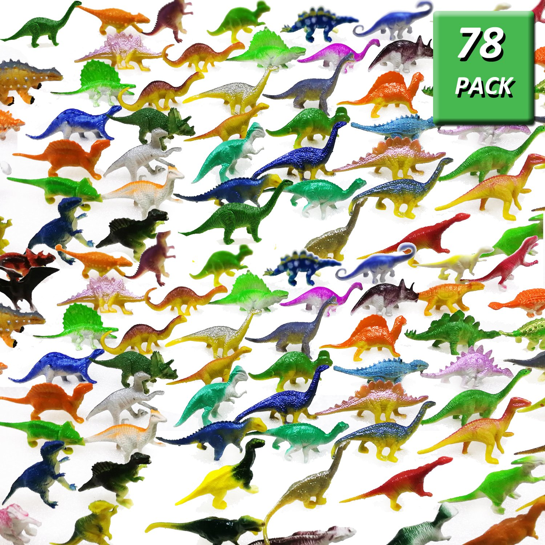 OuMuaMua Dinosaur Figure Toys 78 Pack - Plastic Dinosaur Set for Kids and Toddler Education, Including T-rex, Stegosaurus, Monoclonius, etc