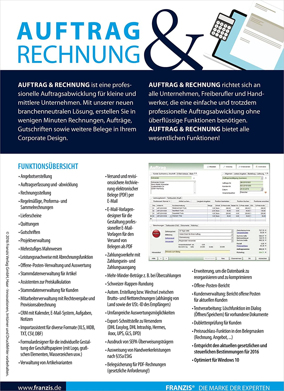 Franzis Auftrag und Rechnung: Franzis: Amazon.de: Software