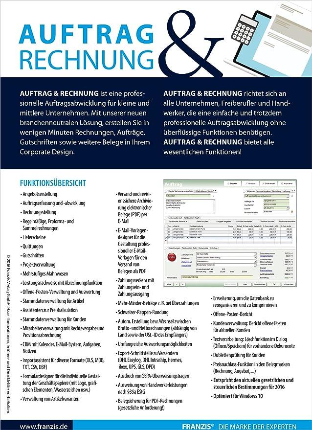 Franzis Auftrag Und Rechnung Franzis Amazonde Software
