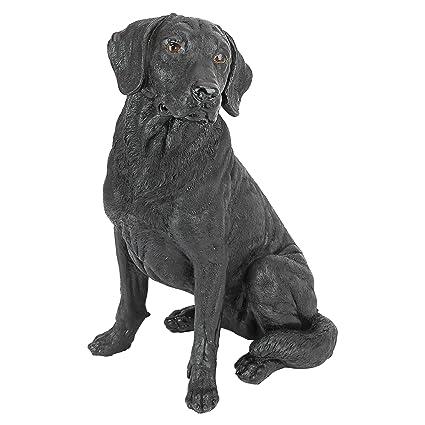Merveilleux Design Toscano Black Labrador Retriever Dog Garden Statue, 15 Inch,  Polyresin, Black