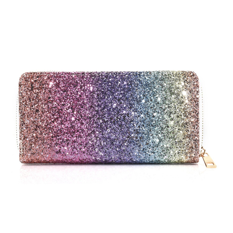 Women Wallet Glitter Clutch Purse Long Zip Around Credit Card Holder (Rainbow)