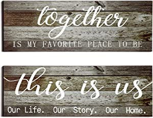 2 Pieces This is Us Our Life Our Story Rustic Print Wood Signs Together Rustic Wooden Wall Art Signs Farmhouse Entryway Signs for Bedroom Living Room Office Decor, 4.7 x 13.8 Inch (Antique Grey)