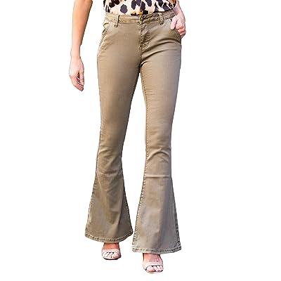 Amaryllis Apparel Women's Robyn Back Seam Flare Denim: Clothing