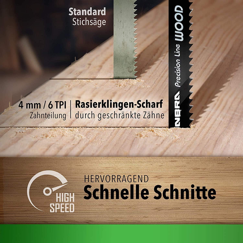 Hojas de sierra de calar CONBRA/® Hojas de sierra de calar para madera Bosch GST 150 BCE Ideal para Bosch PST 700 E Bosch PST 1000 PEL 5 x T344D Cortes precisos