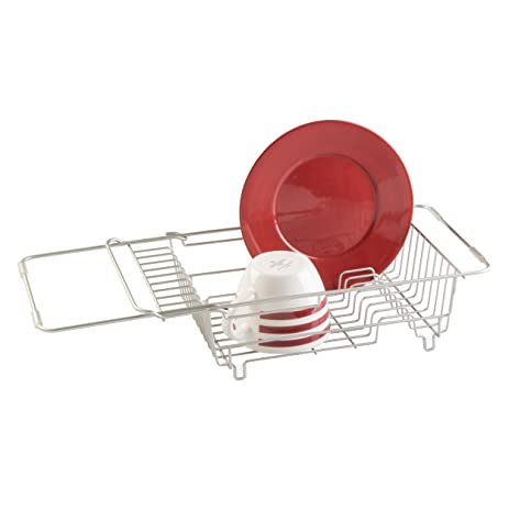 MDesign Kitchen Over The Sink Dish Drainer Rack For Drying Glasses,  Silverware,