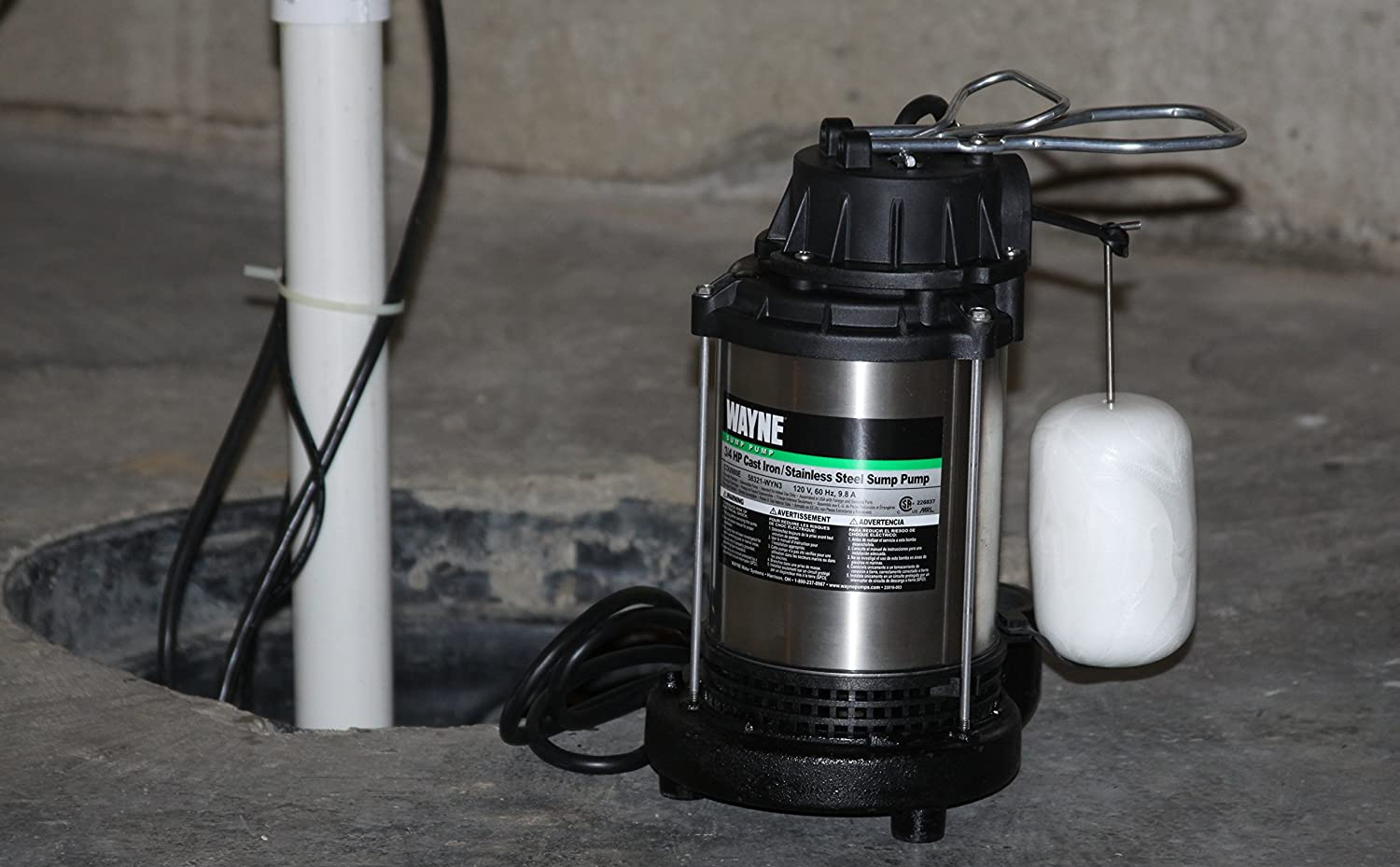 WAYNE CDU980E 3/4 HP Submersible Cast Iron and Stainless Steel Sump ...