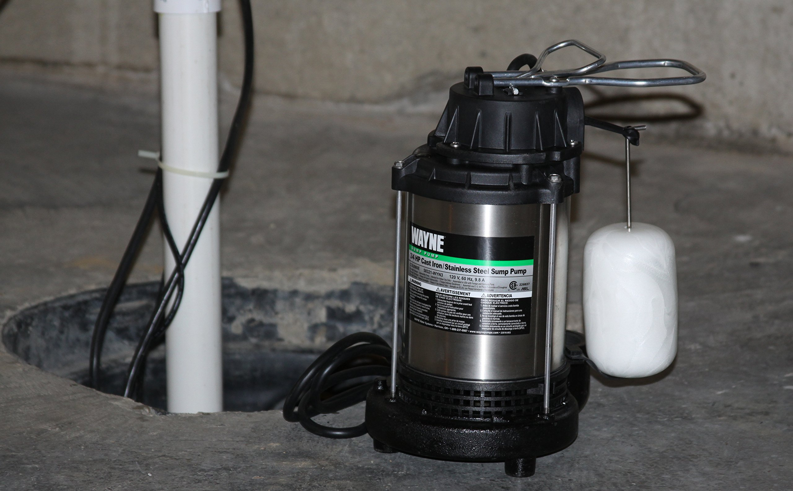 WAYNE CDU980E 3/4 HP Submersible Cast Iron and Stainless Steel Sump Pump With Integrated Vertical Float Switch by Wayne (Image #3)