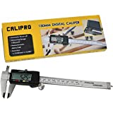 "Digital Caliper - 6"" Electronic Caliper by Calipro - Stainless Steel with XL LCD Screen - Instant SAE-Metric Conversion with Case and Spare Battery"