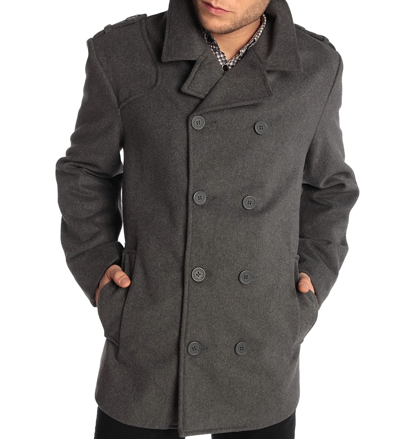 alpine swiss Jake Mens Wool Pea Coat Double Breasted Jacket By Alpine Swiss