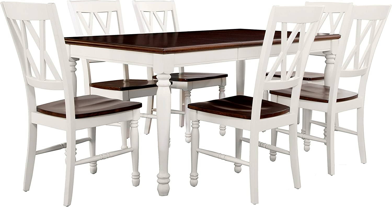 Amazon Com Crosley Furniture Shelby Dining Table Set With Extension Leaf 7 Piece 6 Chairs Distressed White Table Chair Sets