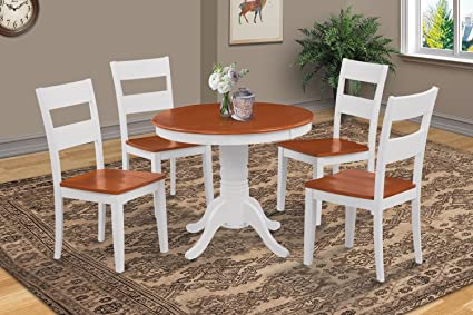 Amazon Com M D Furniture 5 Pc Round Kitchen Table Set In White And