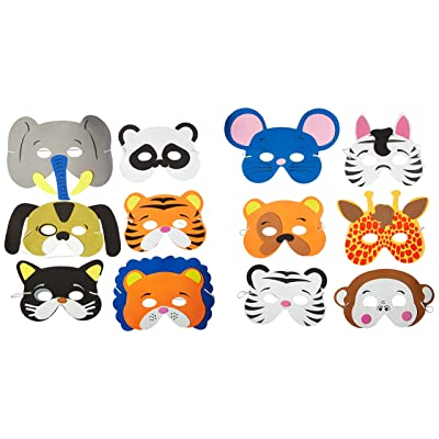 Rhode Island Novelty 24 Assorted Foam Animal Masks for Birthday Party Favors Dress-Up Costume: Toys & Games