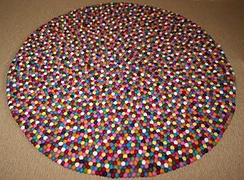 Teppich rund  Handgefilzter Design Filzkugel Teppich, Filz Teppich rund 140cm ...
