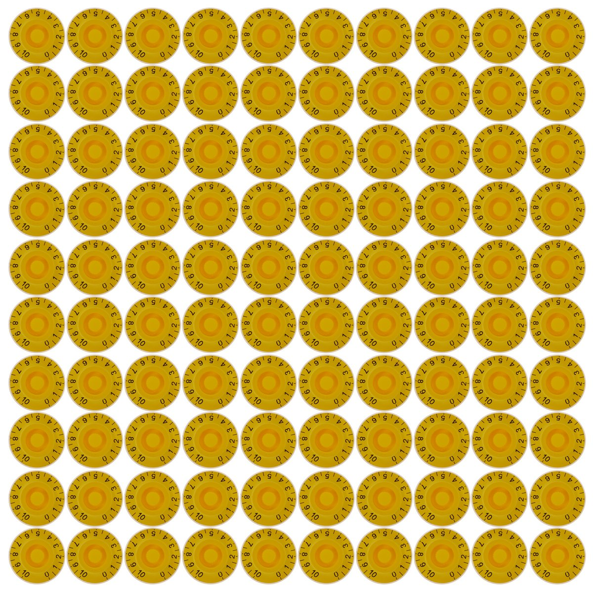 Kmise 100pcs Speed Control Knobs For Gibson Les Paul Electric Guitar Parts Anticlockwise Yellow