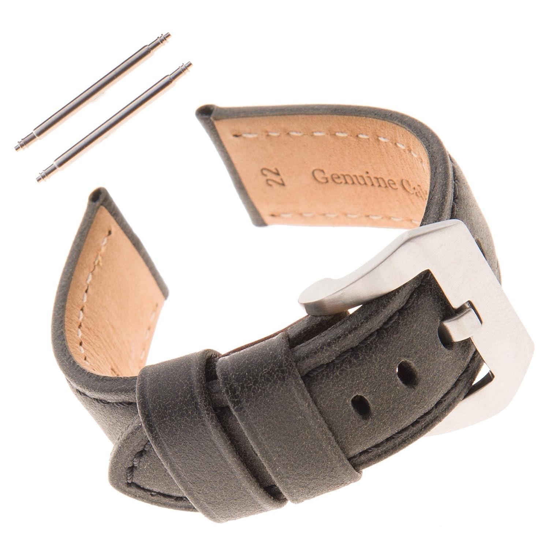 Gildenメンズ用Vingate Paneraiスタイル厚いパッド入りレザー時計ストラップvinpan 24mm ダークグレー 24mm|ダークグレー ダークグレー 24mm B074HGH4JY