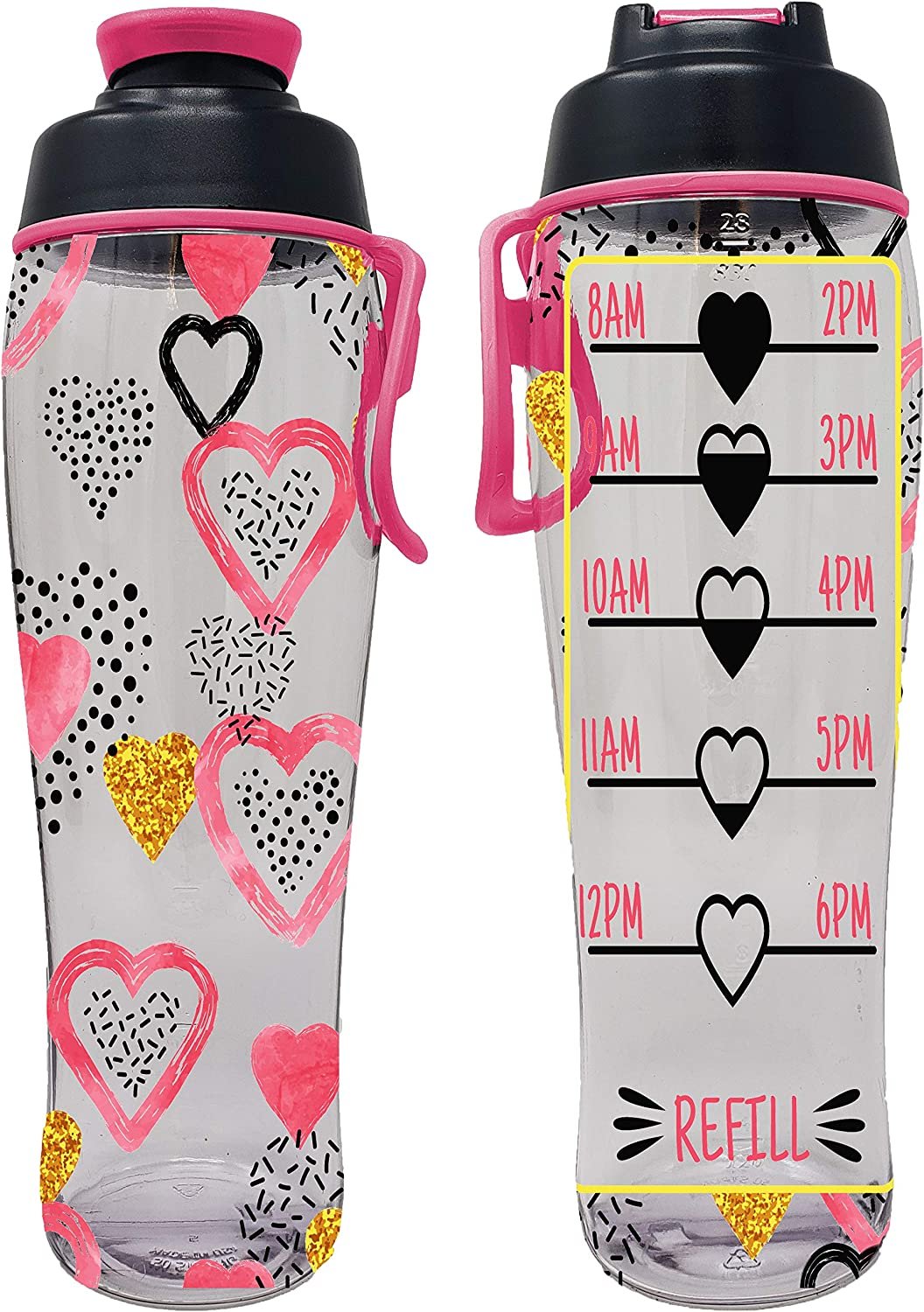 50 Strong BPA Free Reusable Water Bottle with Time Marker Motivational Fitness Bottles Drink More Water Daily Tracker Helps You Drink Water All Day -Made in USA Hours Marked