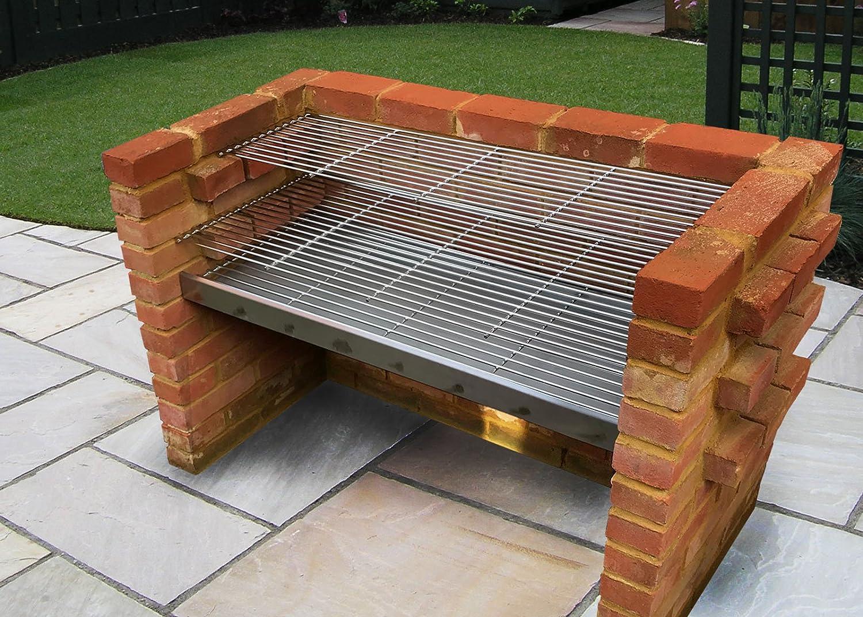 SunshineBBQs Kit de barbacoa de ladrillos de acero inoxidable extra grande 112 cm x 40 cm - ss104dxl-r 2018 diseño: Amazon.es: Jardín