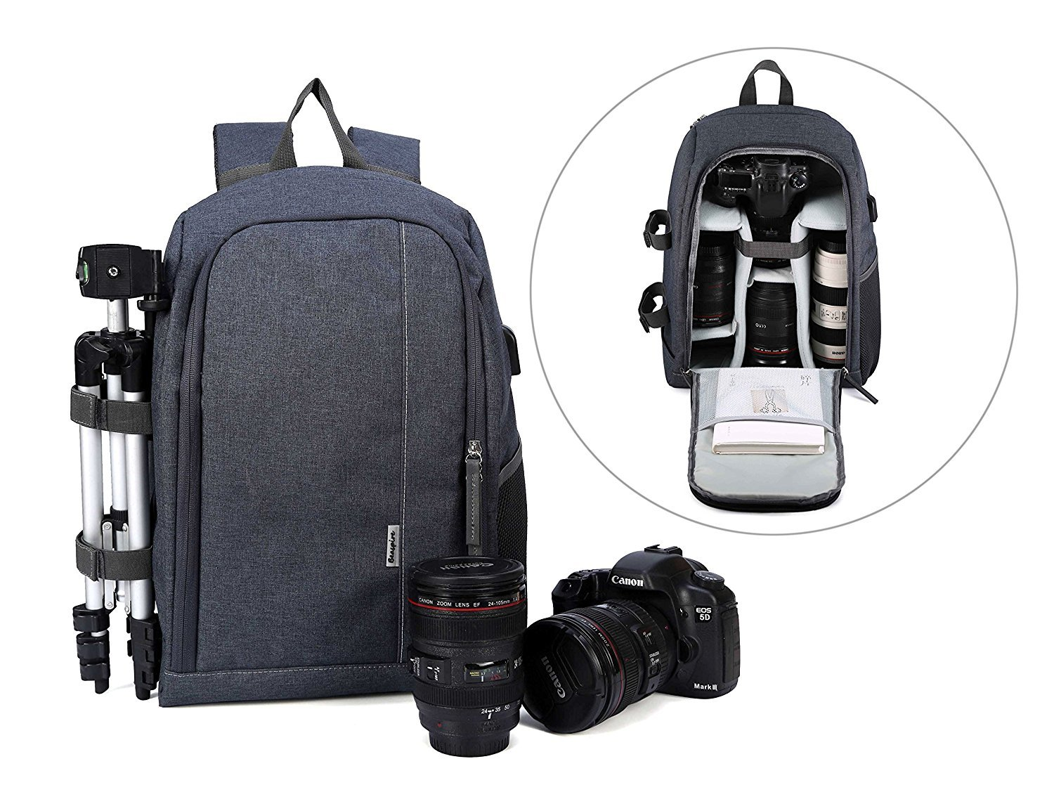 Camera Backpack Waterproof Nylon DSLR Backpack Professional Camera Bag with USB External Charging Port for Canon Nikon Sony Camera Accessories and Laptops Tablets Black (Gray) by Cozyvie (Image #2)