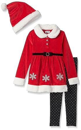 7eb1aea9cbfb5 Little Lass Girls' Toddler 3 Pc Mrs Claus Legging Set, Black/White/