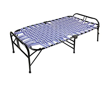 IRA WITH WORD DWELL IN COMFORT Single Size Steel Folding Bed (Blue)