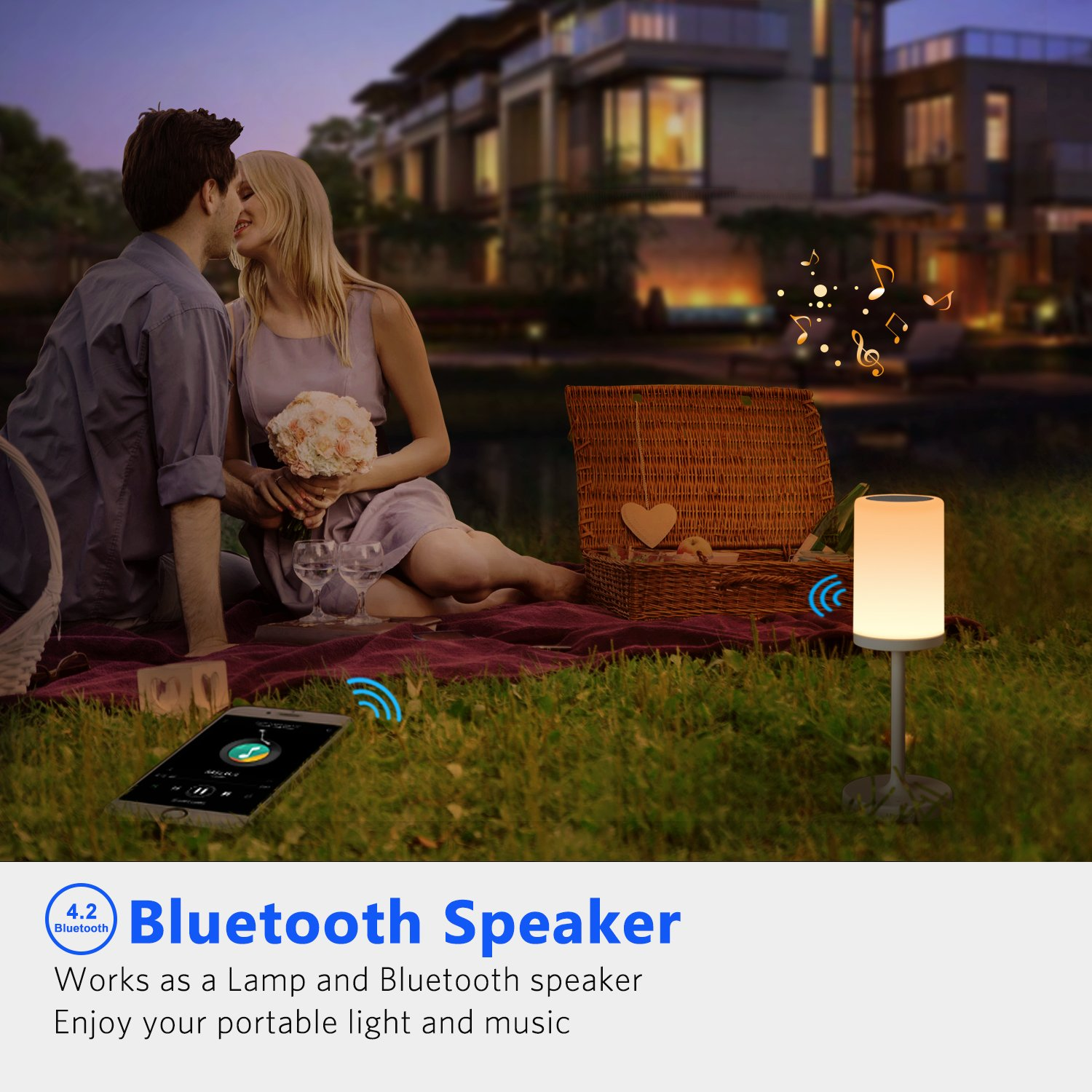 Marrado Bluetooth Speakers + Bedside Lamp, Night Light, Smart Touch Control Table Lamp for Bedroom Living Room, Portable Rechargeable LED Desk Lamp, Dimmable Warm White & Color Changing by Marrado (Image #4)
