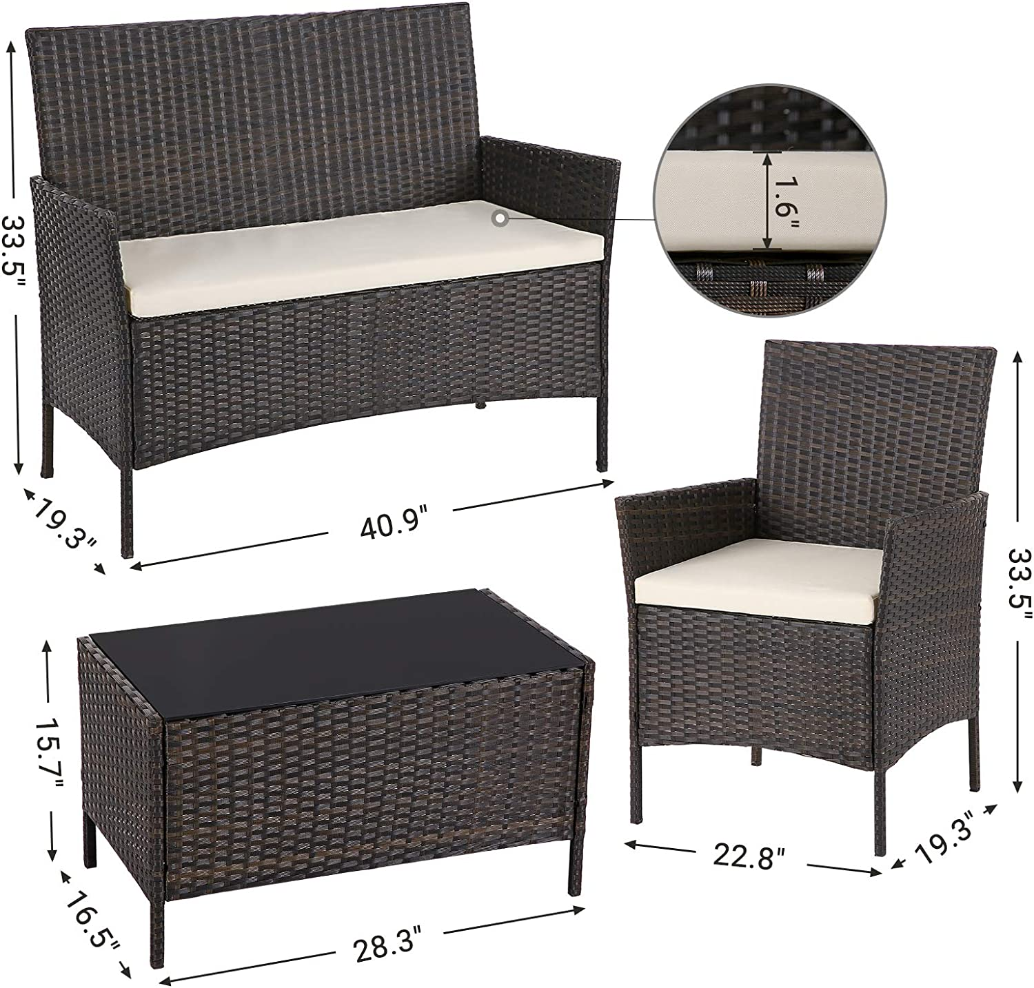 SONGMICS Set of 4 Polyrattan Garden Furniture 1 Coffee Table with Tempered Glass Top Brown and Beige UGGF002BR1 3 Removable Covers Patio Furniture Set with 2 Chairs 1 Sofa