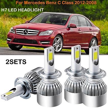 Amazon com: H7 LED Headlight Kit Bulbs For Mercedes Benz C