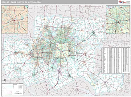 Amazon.com: Dallas-Ft. Worth, TX City Wall Map (Premium Style ...