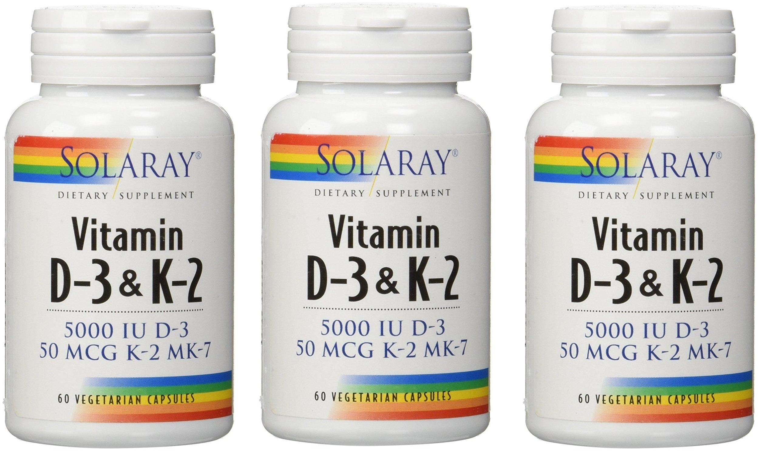 Solaray Vitamin D-3 & K-2 -- 60 Vegetarian Capsules ...