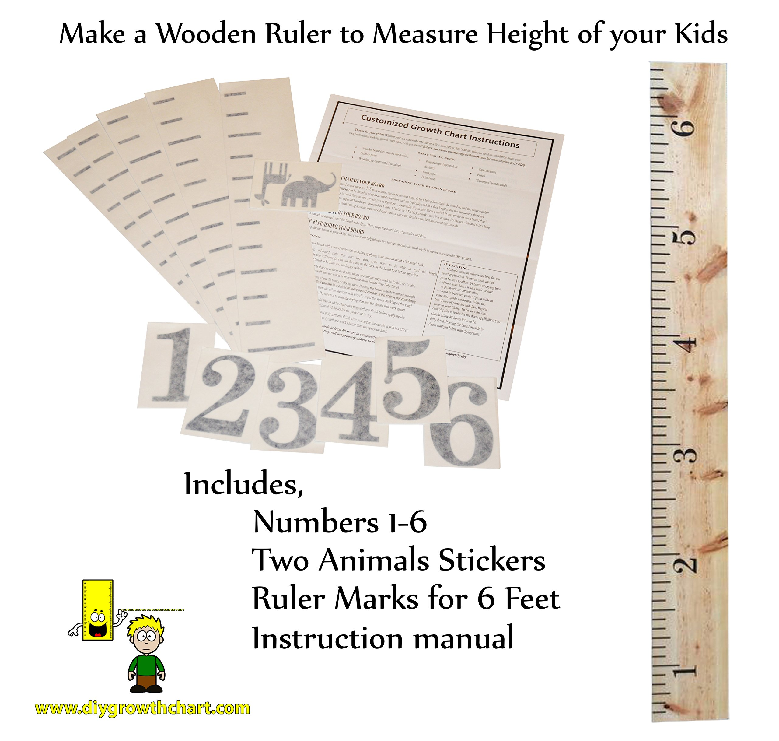 81g6xmsph lg personalized diy growth chart ruler decal kit for wall or do it yourself project for custom large wooden ruler to measure children growing geenschuldenfo Choice Image