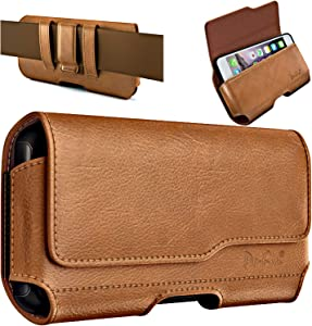 De-Bin iPhone 12 Pro Max/ 11 Pro Max iPhone Xs Max 7 Plus 8 Plus 6s Plus Holster Belt Case with Clip Cell Phone Pouch Belt Holder for Large Apple iPhone(Fits Cellphone w/Otterbox Other Cases on) Brown