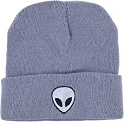 ea260382f7a Lux Accessories Grey White Black Alien Beanie Hat