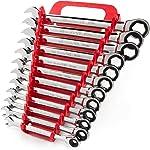 TEKTON Ratcheting Combination Wrench Set, 12-Piece (8-19 mm) - Holder  