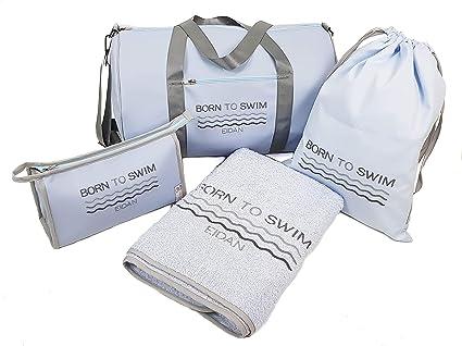 Pack de natación para niño niña Personalizada: Bolsa de Deporte, Toalla, Neceser, Bolsa de bañadores. Modelo Born to Swim (Azul): Amazon.es: Deportes y aire libre